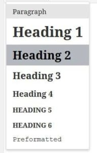 headings-in-hierarchical format